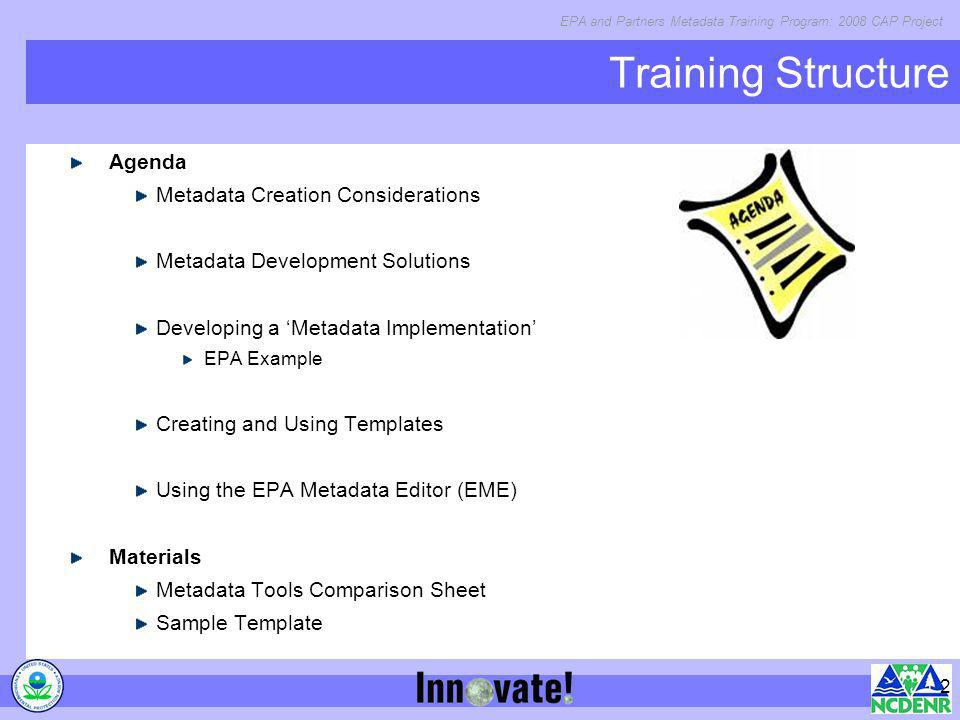Training Structure Agenda Metadata Creation Considerations  Ppt