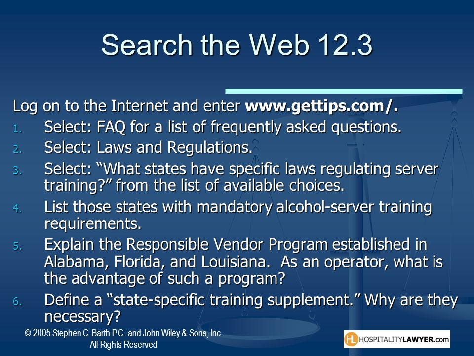 Search the Web 12.3 Log on to the Internet and enter www.gettips.com/.