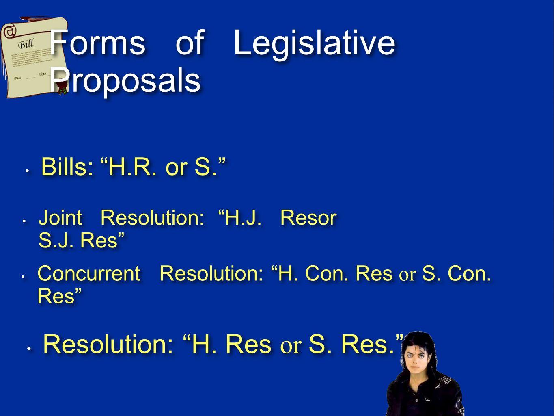 Forms of Legislative Proposals