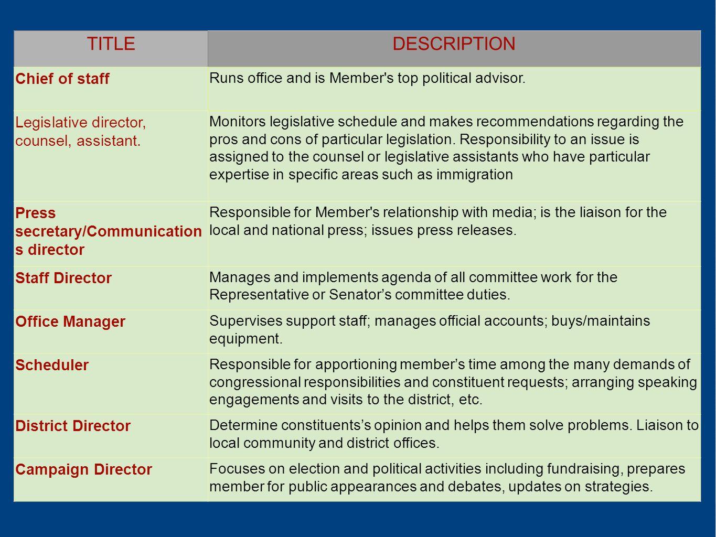TITLE DESCRIPTION Chief of staff