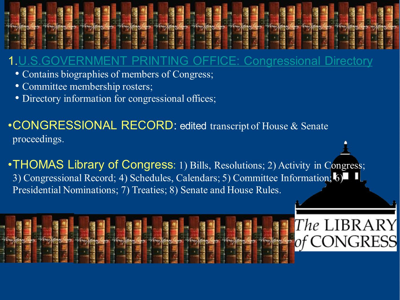 U.S.GOVERNMENT PRINTING OFFICE: Congressional Directory