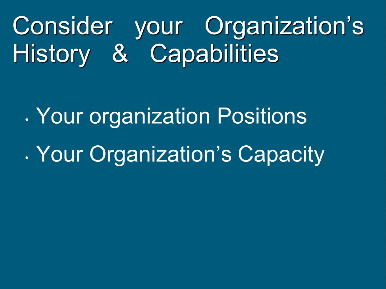 Consider your Organization's History & Capabilities