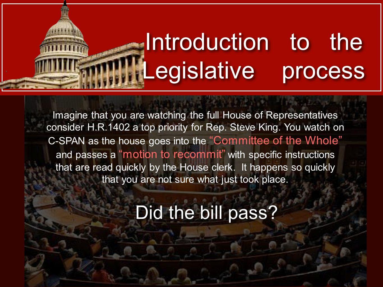 Introduction to the Legislative process