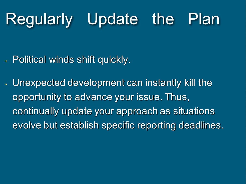 Regularly Update the Plan