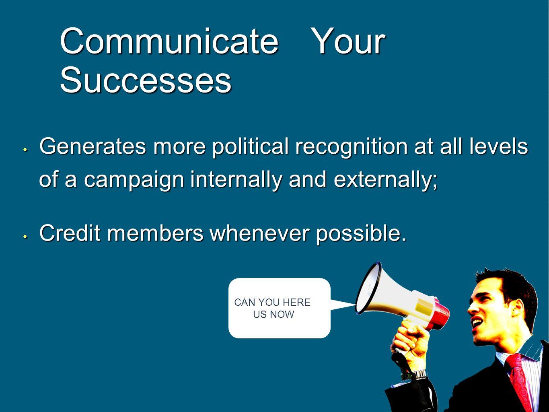 Communicate Your Successes