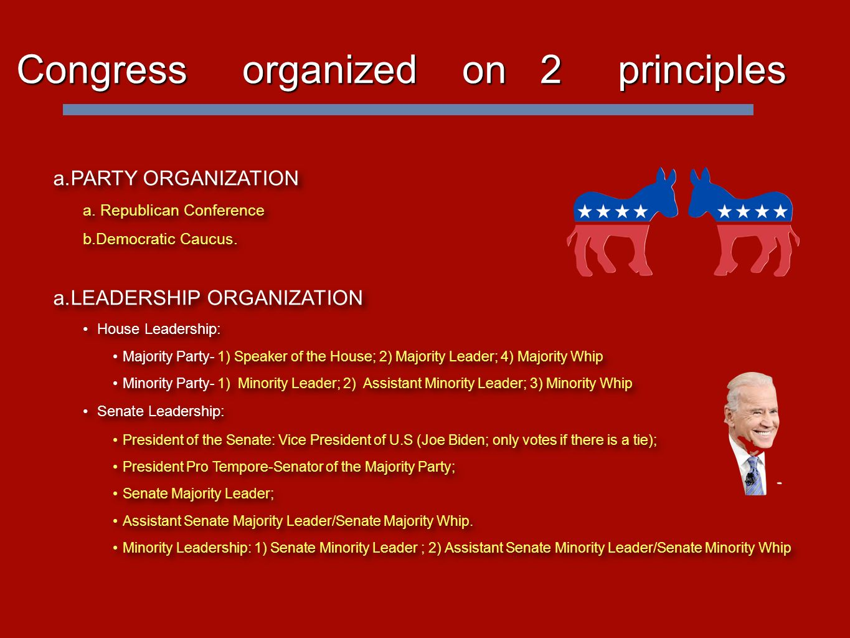 Congress organized on 2 principles