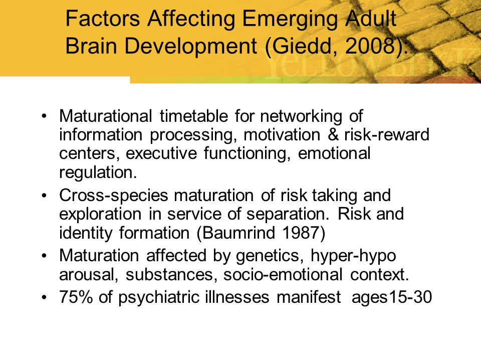 Factors Affecting Emerging Adult Brain Development (Giedd, 2008):
