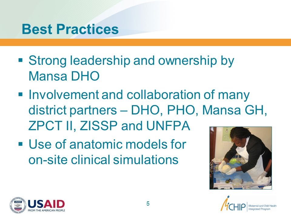 Best Practices Strong leadership and ownership by Mansa DHO
