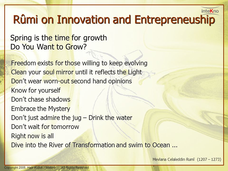 Rûmi on Innovation and Entrepreneuship