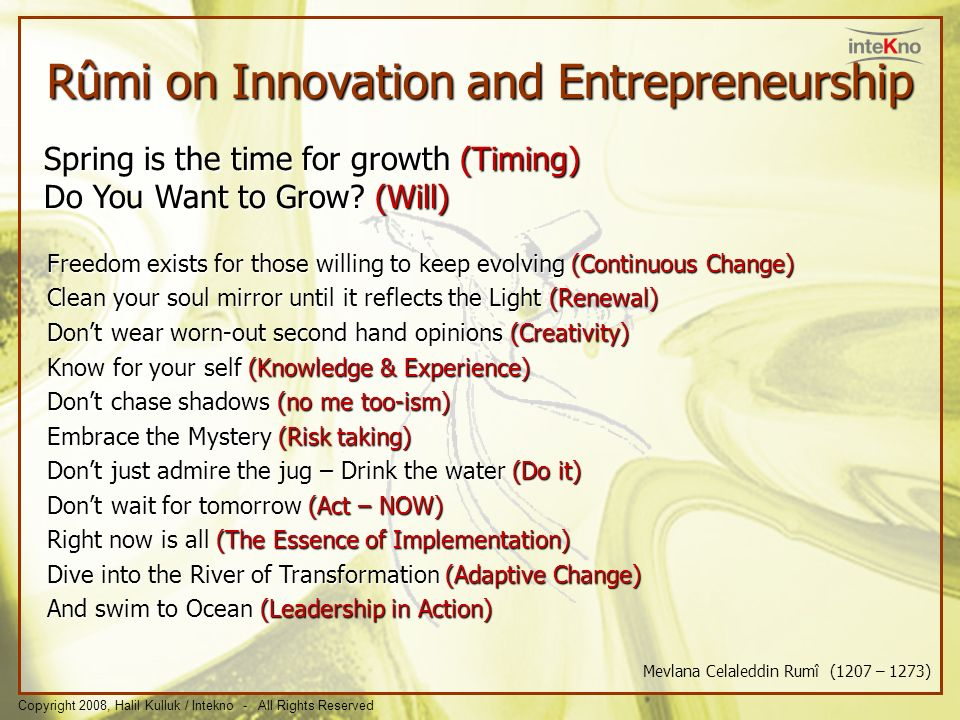 Rûmi on Innovation and Entrepreneurship