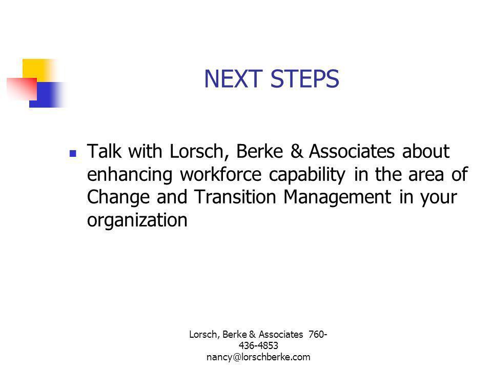 Lorsch, Berke & Associates 760-436-4853 nancy@lorschberke.com