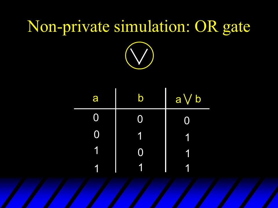 Non-private simulation: OR gate