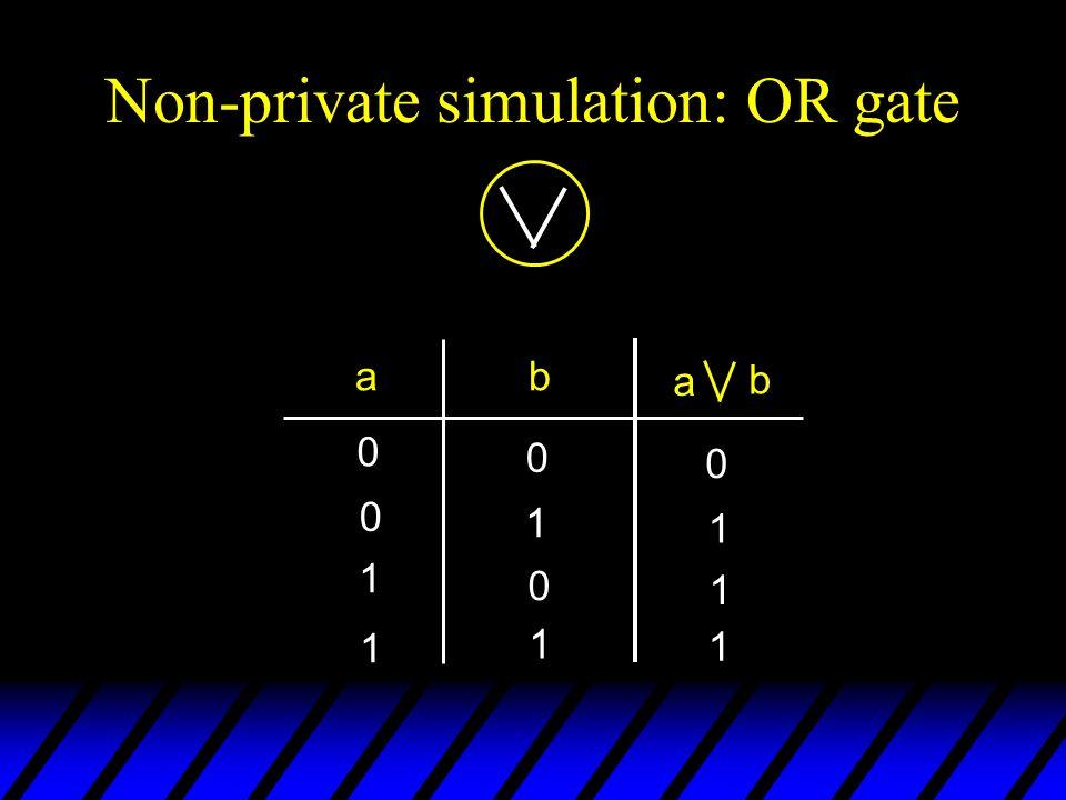 Non-private simulation: OR gate