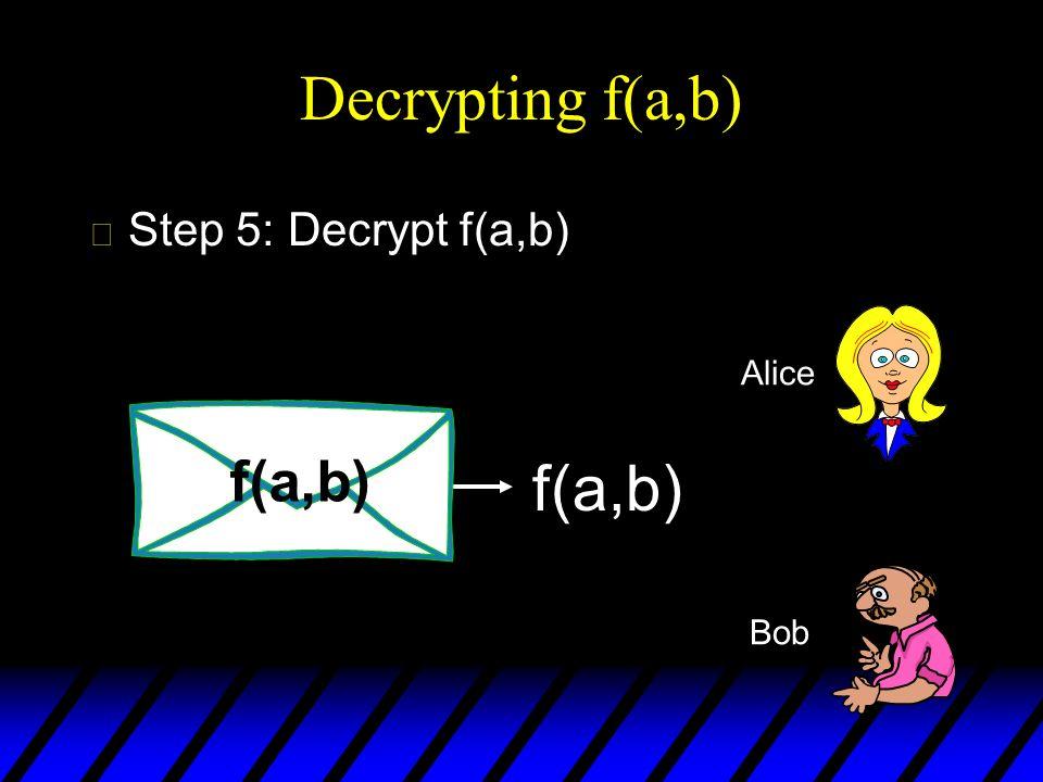 Decrypting f(a,b) Step 5: Decrypt f(a,b) Alice f(a,b) f(a,b) Bob