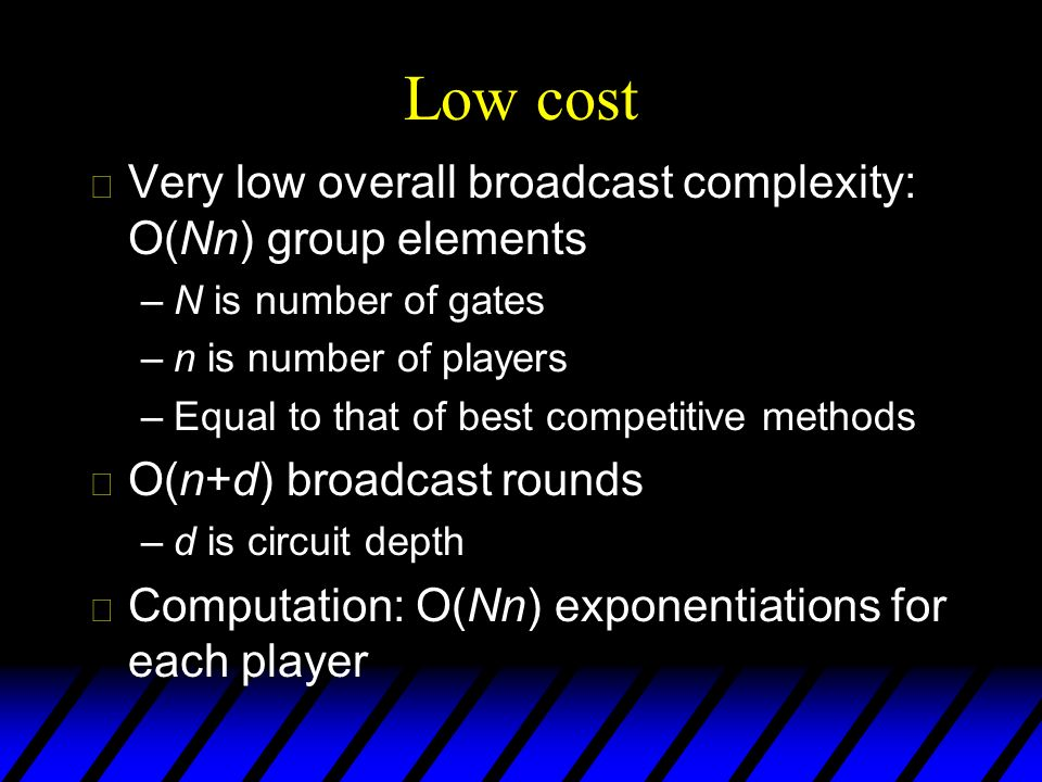 Low cost Very low overall broadcast complexity: O(Nn) group elements