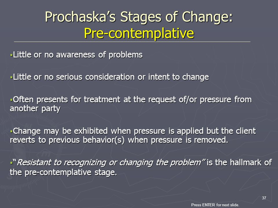 Prochaska's Stages of Change: Pre-contemplative