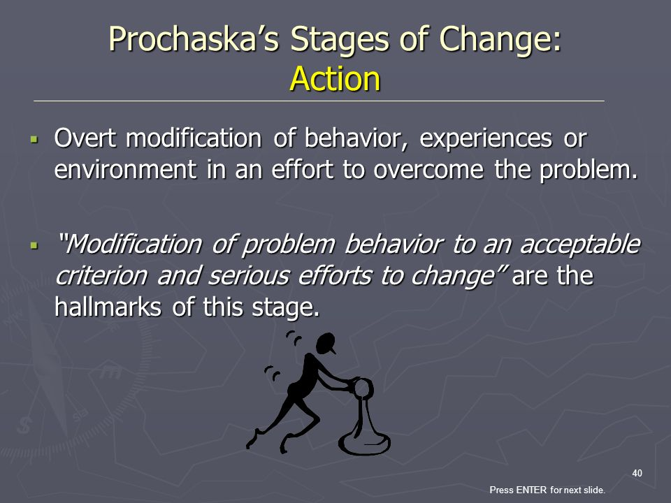 Prochaska's Stages of Change: Action