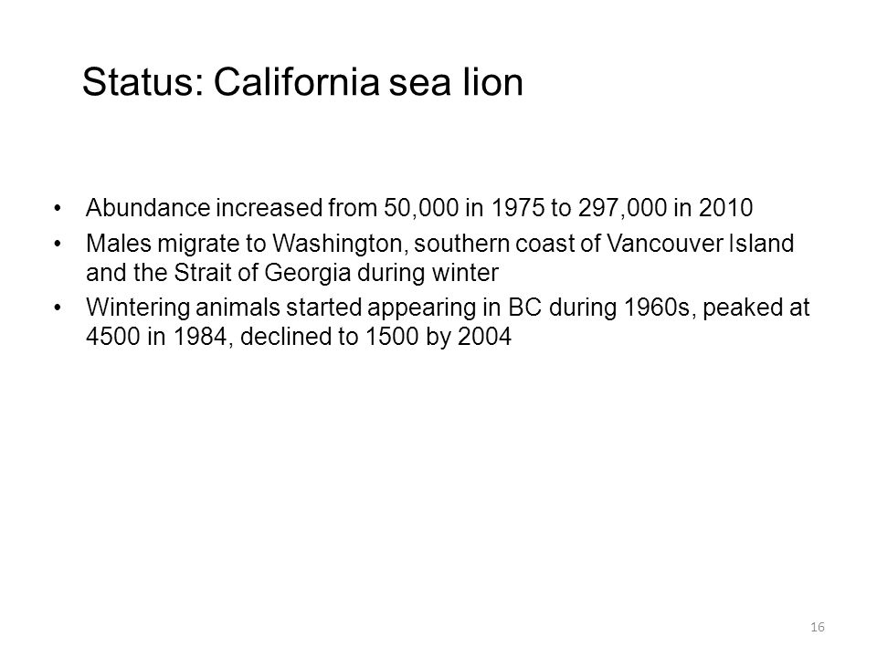 Status: California sea lion