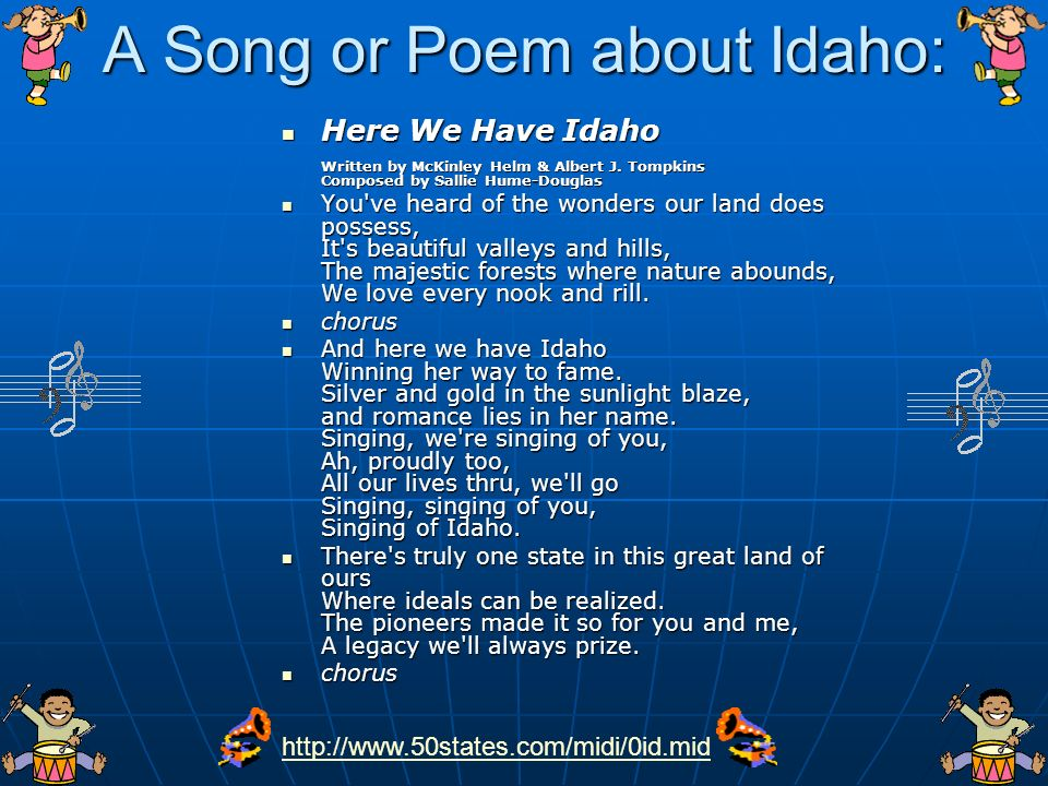 A Song or Poem about Idaho:
