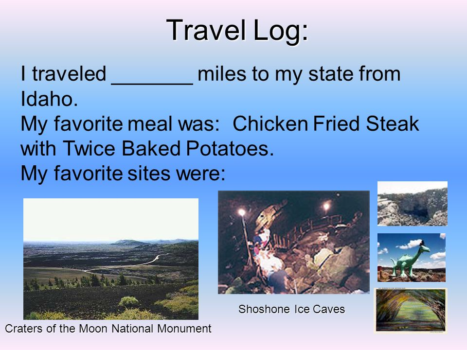 Travel Log: I traveled _______ miles to my state from Idaho.