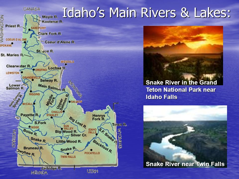 Idaho's Main Rivers & Lakes:
