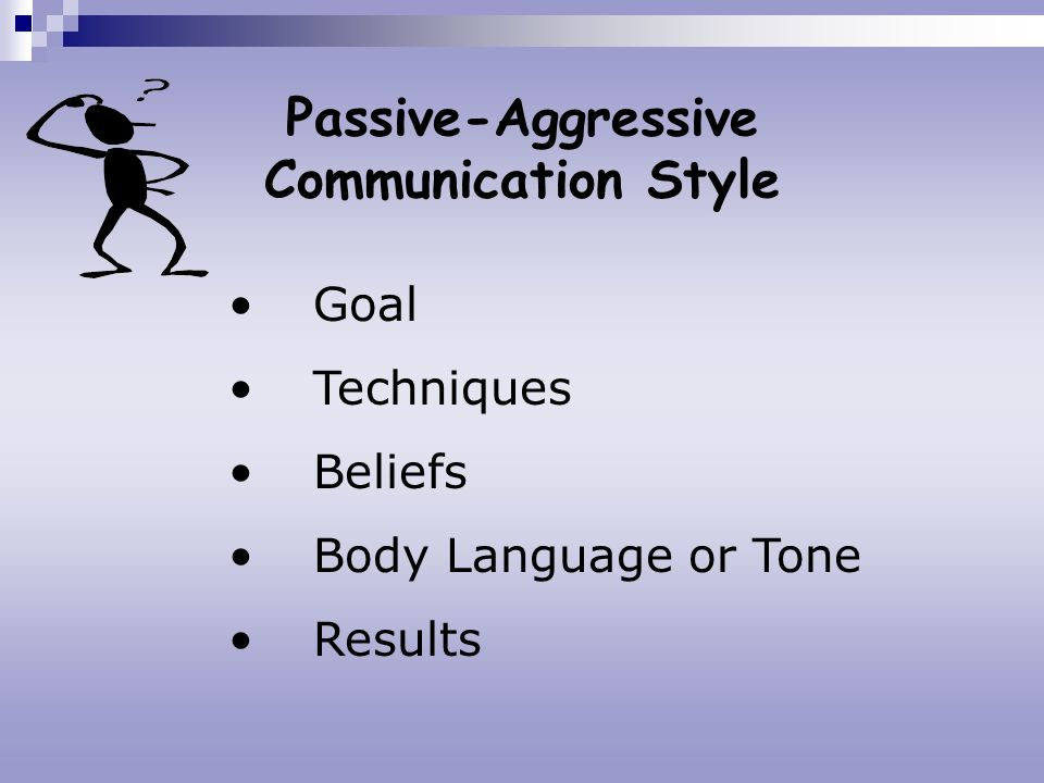 Passive-Aggressive Communication Style