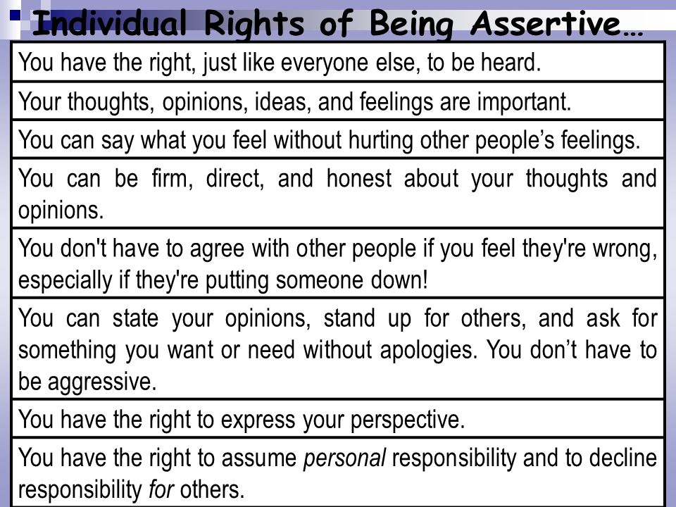 Individual Rights of Being Assertive…