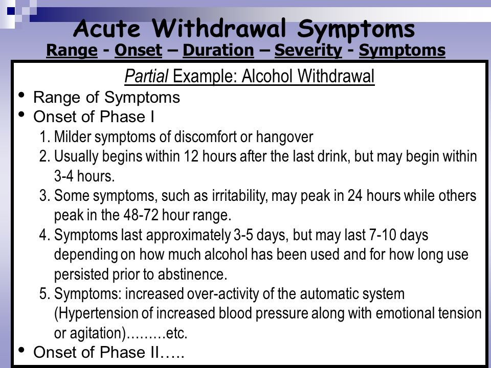 Acute Withdrawal Symptoms