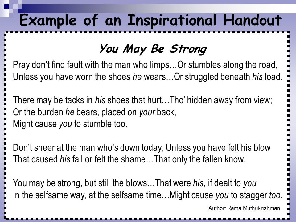 Example of an Inspirational Handout