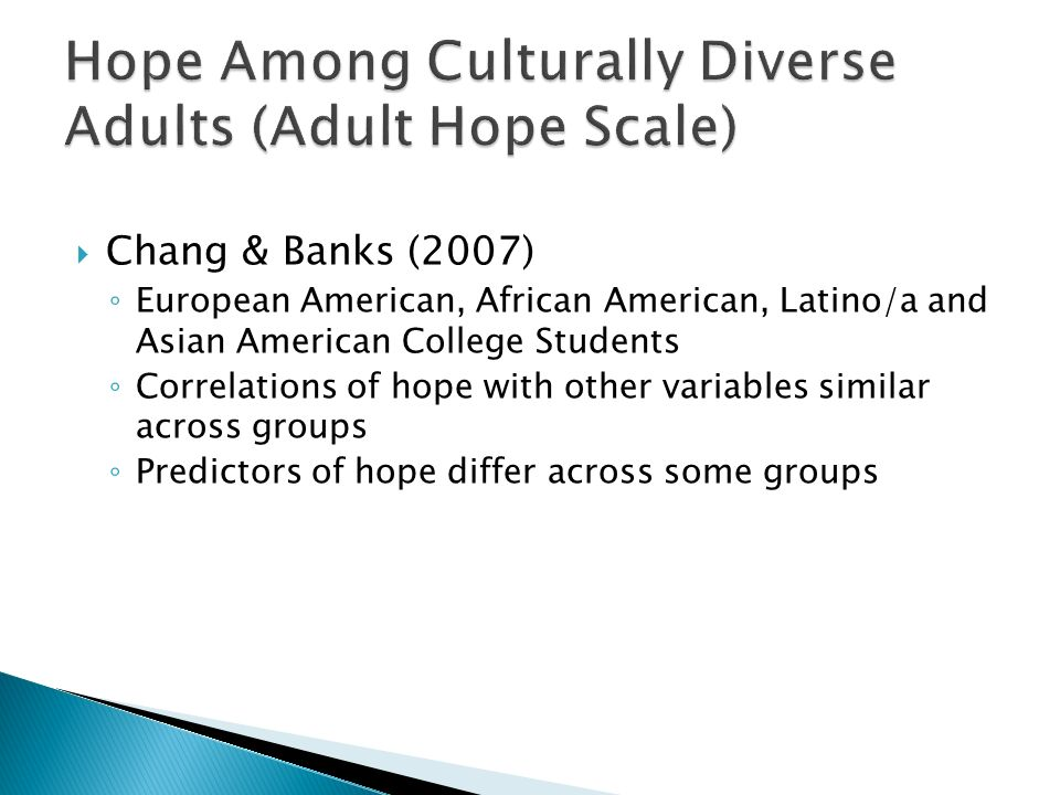Hope Among Culturally Diverse Adults (Adult Hope Scale)