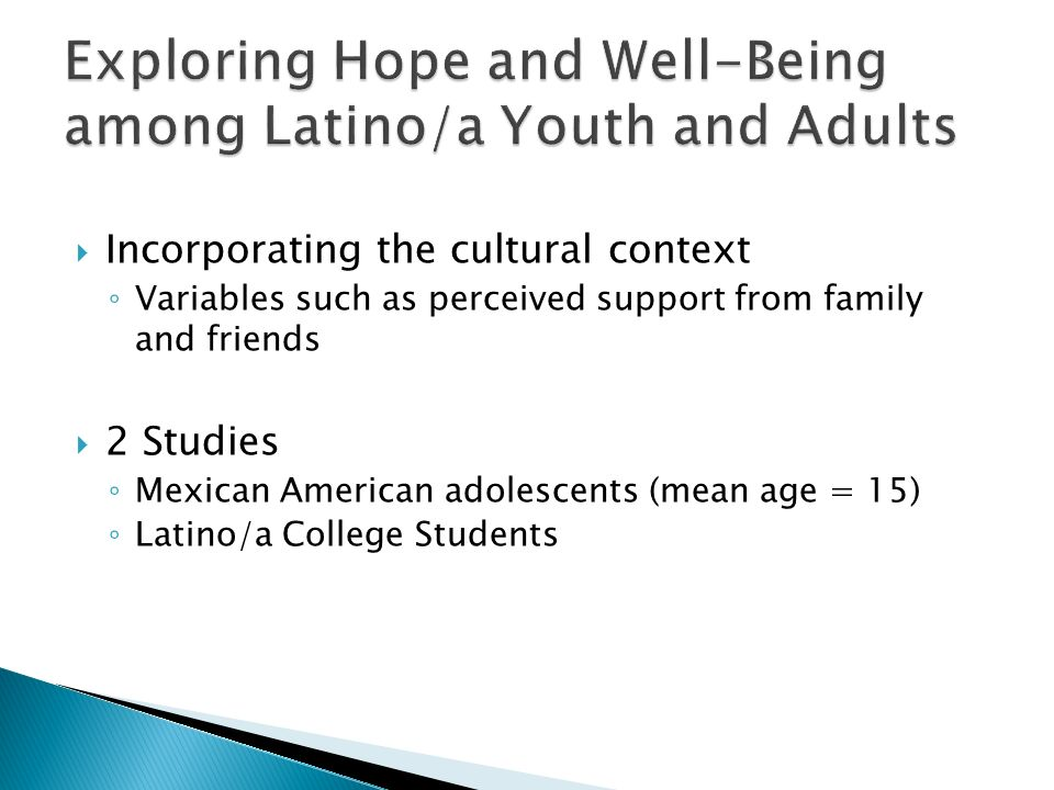 Exploring Hope and Well-Being among Latino/a Youth and Adults