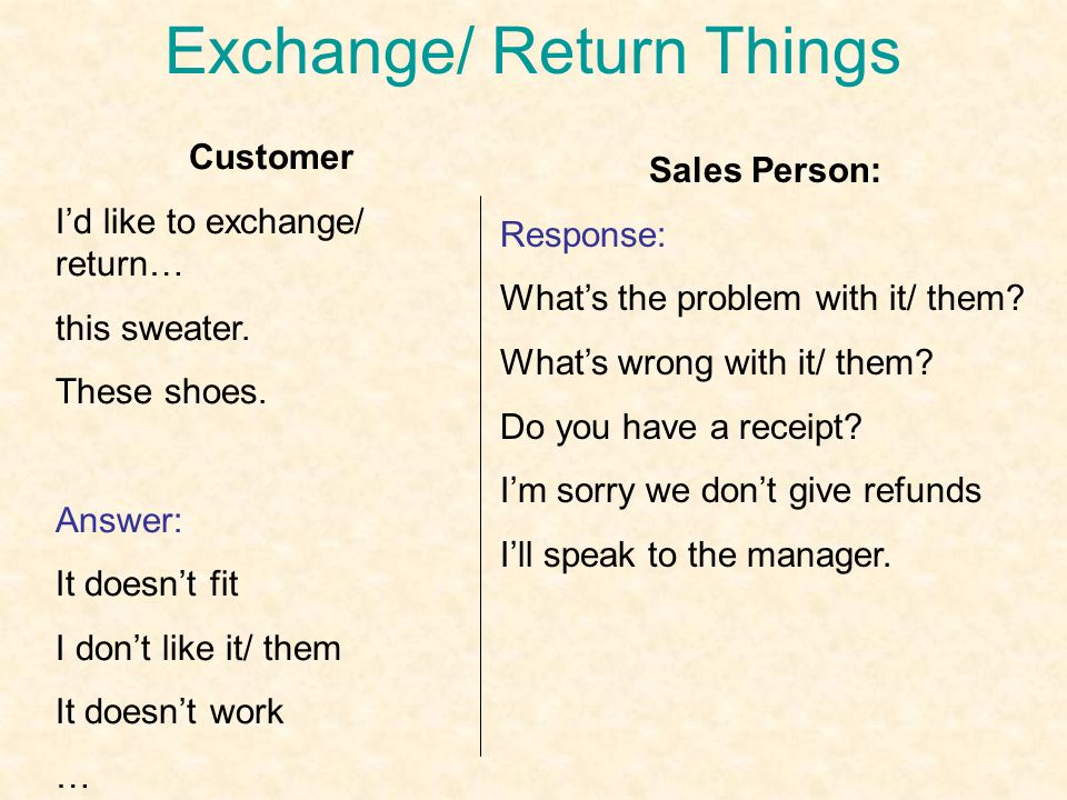 Exchange/ Return Things