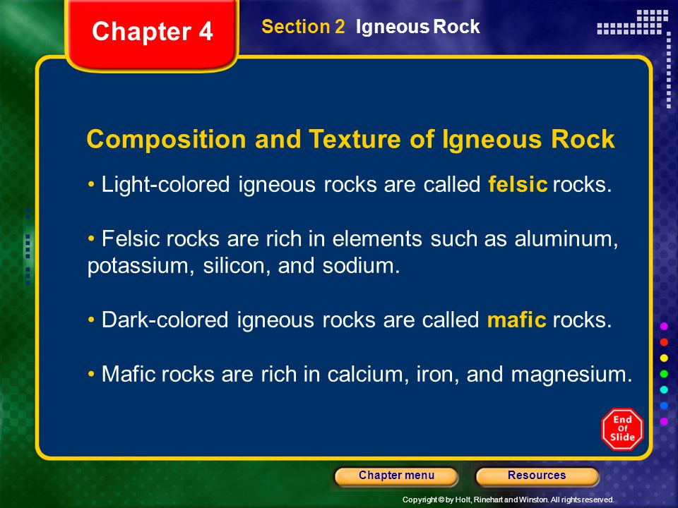 Composition and Texture of Igneous Rock