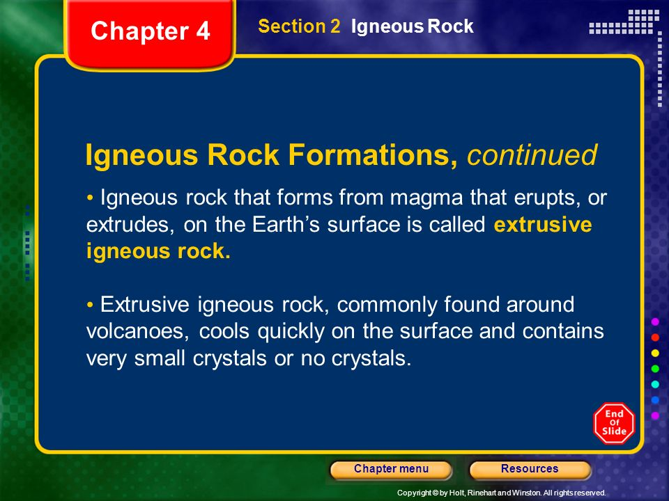 Igneous Rock Formations, continued