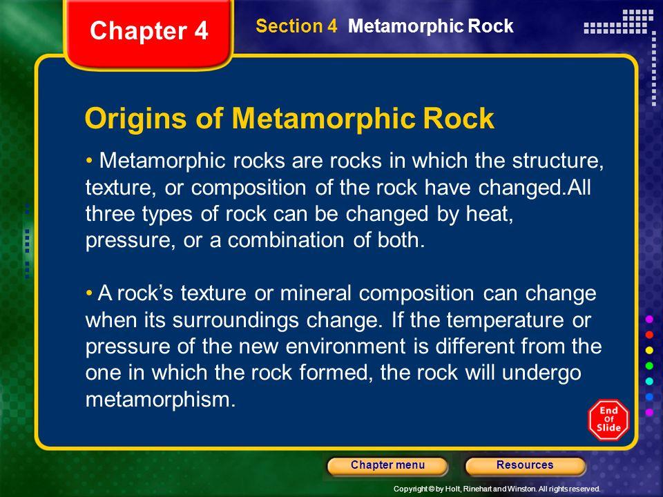 Origins of Metamorphic Rock