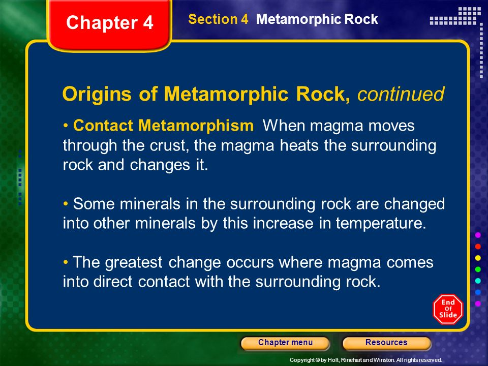 Origins of Metamorphic Rock, continued