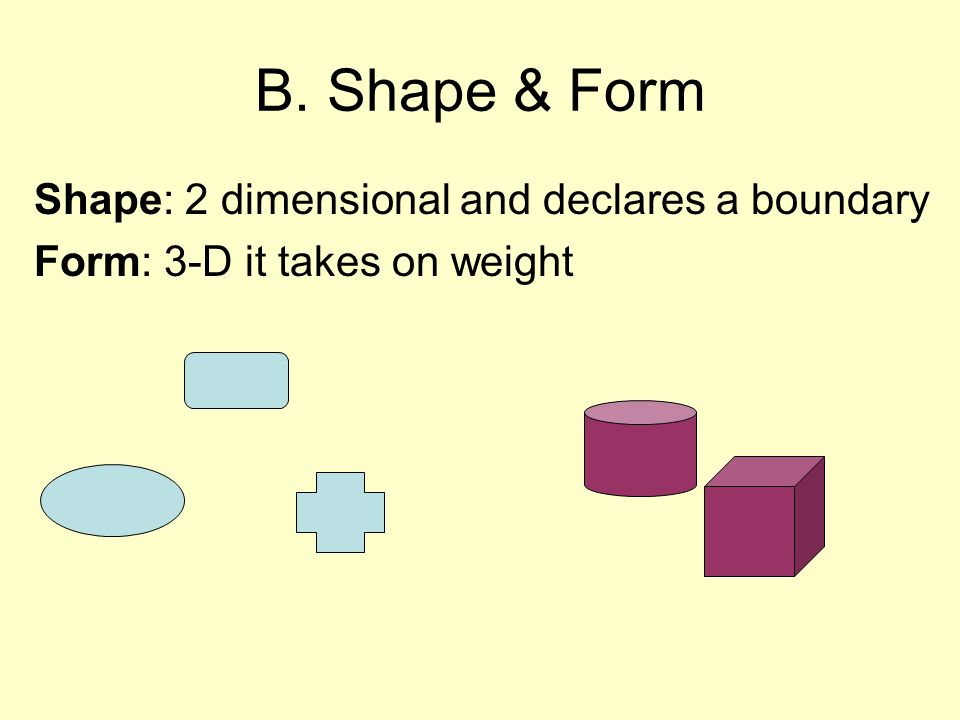 B. Shape & Form Shape: 2 dimensional and declares a boundary