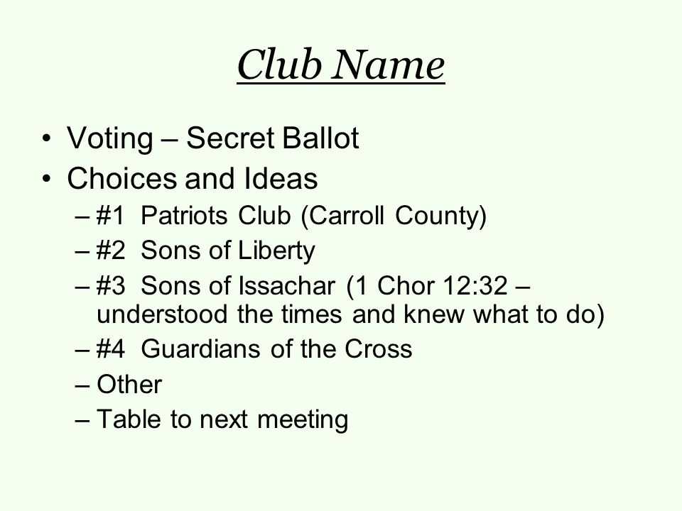 Club Name Voting – Secret Ballot Choices and Ideas