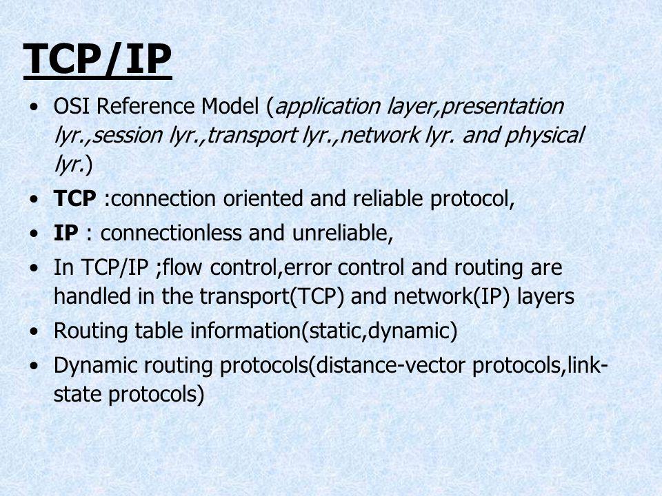 TCP/IPOSI Reference Model (application layer,presentation lyr.,session lyr.,transport lyr.,network lyr. and physical lyr.)