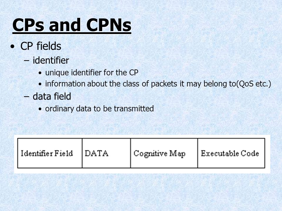 CPs and CPNs CP fields identifier data field