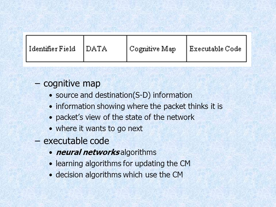 cognitive map executable code source and destination(S-D) information