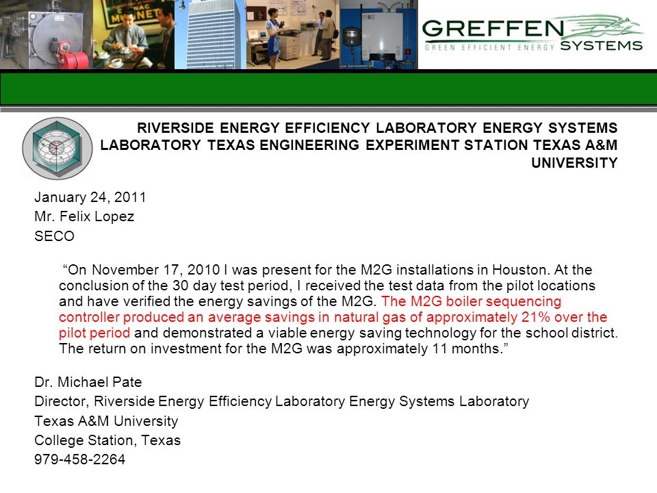 RIVERSIDE ENERGY EFFICIENCY LABORATORY ENERGY SYSTEMS LABORATORY TEXAS ENGINEERING EXPERIMENT STATION TEXAS A&M UNIVERSITY