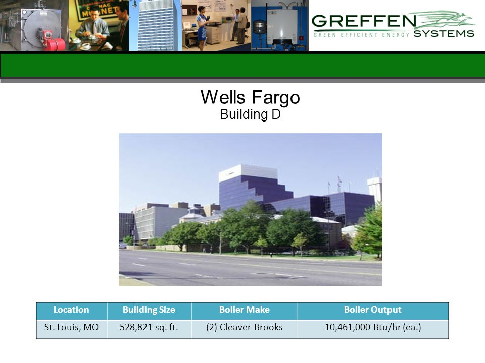 Wells Fargo Building D Location Building Size Boiler Make