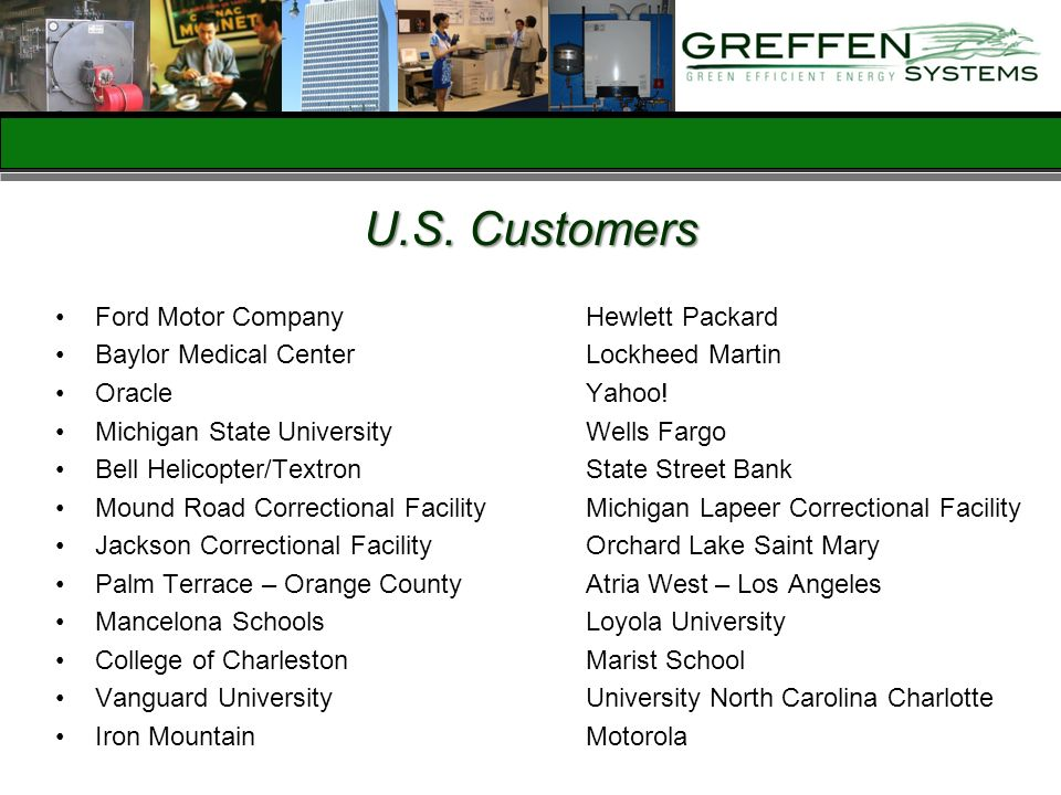 U.S. Customers Ford Motor Company Hewlett Packard