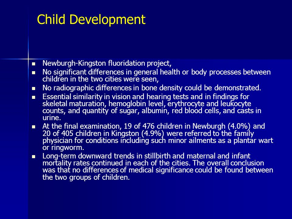 Child Development Newburgh-Kingston fluoridation project,