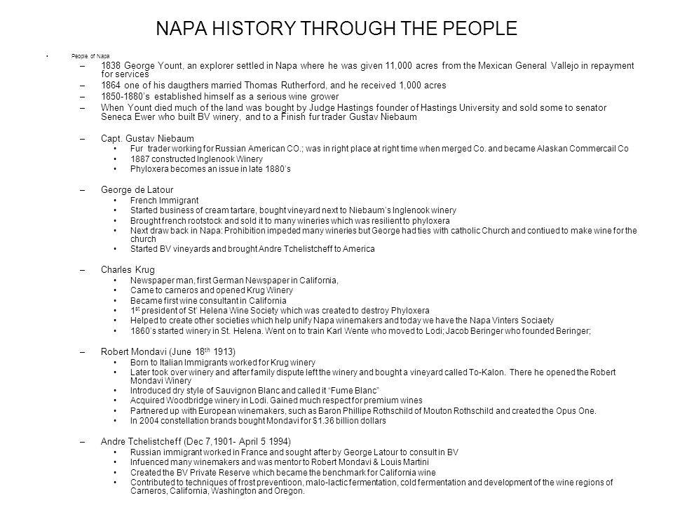 NAPA HISTORY THROUGH THE PEOPLE