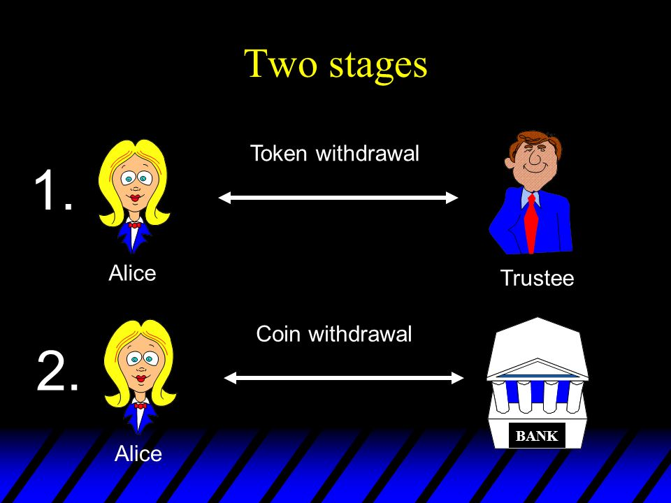 1. 2. Two stages Token withdrawal Alice Trustee Coin withdrawal Alice