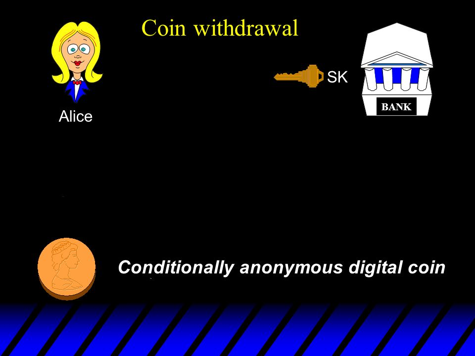 Coin withdrawal , Conditionally anonymous digital coin SK Alice Checks