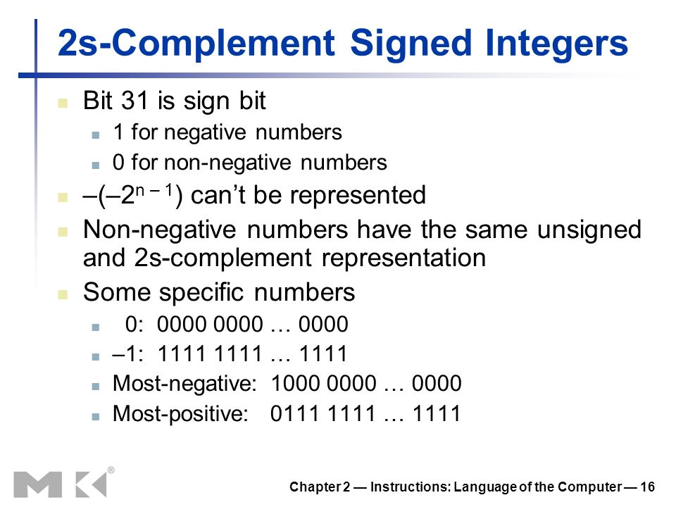 2s-Complement Signed Integers