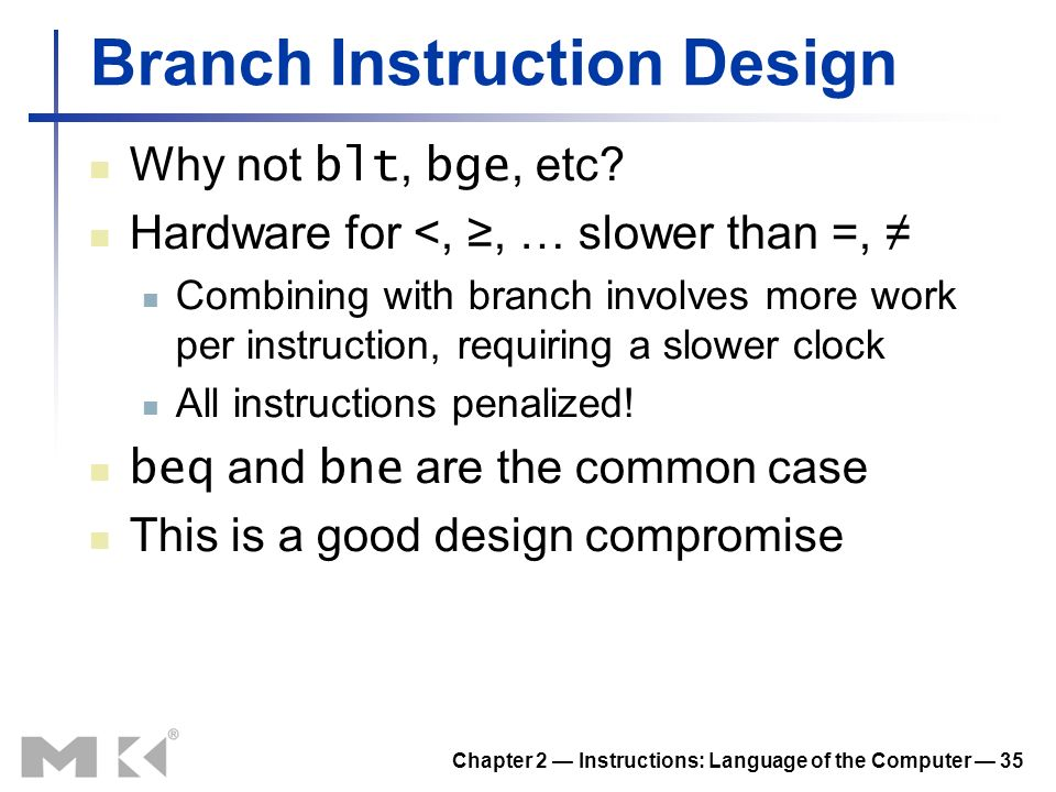 Branch Instruction Design
